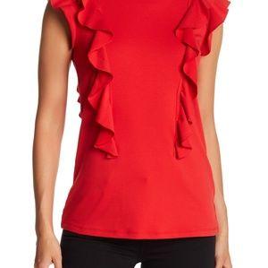 TART sleeveless layered ruffle blouse